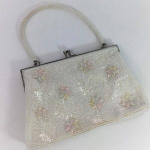 Vintage White Beaded Bag Floral Embelishments